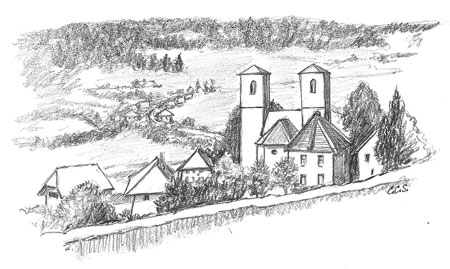 A sketch of rooftops in Herrischried, Germany