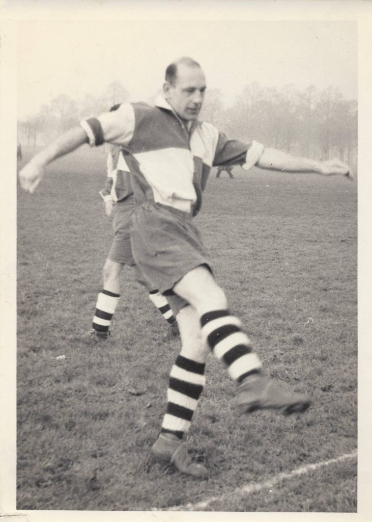Norman Bromley playing football as a young man