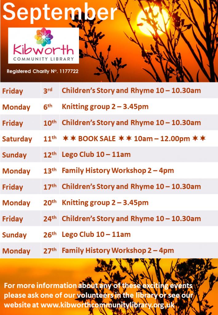 Kibworth Community Library September calendar of events